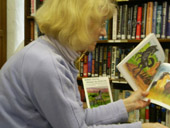 Patricia Gott at West Paris library reading